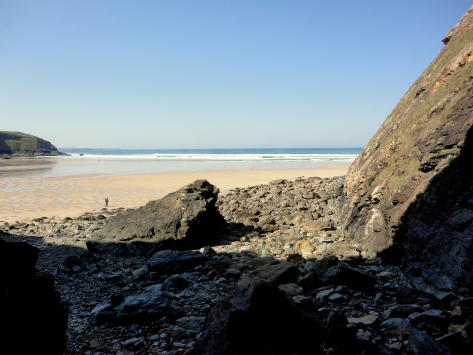 View of the beach from the mine workings, Cornish Rock Pools