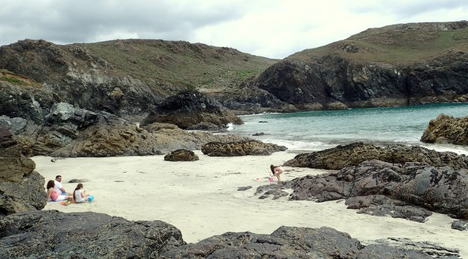 Kynance Cove, The Lizard, Cornwall. The serpentinite rocks create few pools.