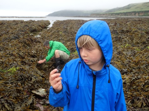 Junior and Other-Half exploring Hannafore in the rain