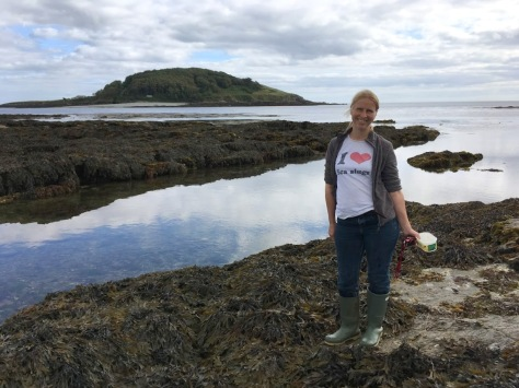 Trend setting in my waterlogged wellies and 'I love sea slugs' t-shirt.