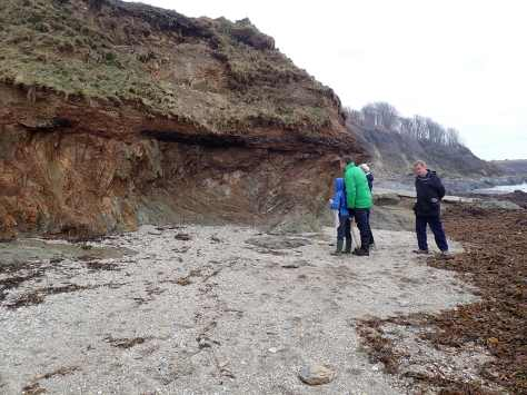 Examining the geology in the cliffs at Bream Cove (I'm already drifting towards the pools).