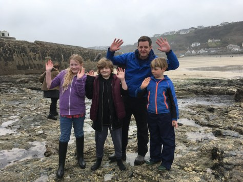 Matt Baker and the kids at Portreath